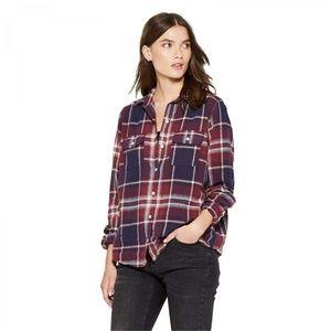 NWT Universal Thread Plaid Flannel Shirt XS Maroon